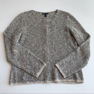Eileen Fisher Linen Blend Snap Front Knit Cardigan